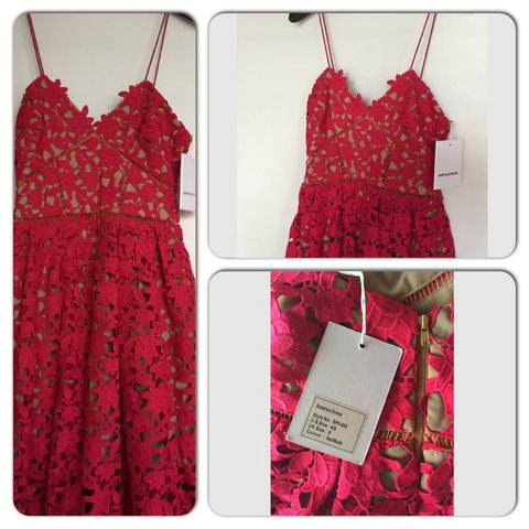 9253ae6ecd1a Authentic Self Portrait Azaelea Dress-RED-size UK8/US4/S tag - Depop