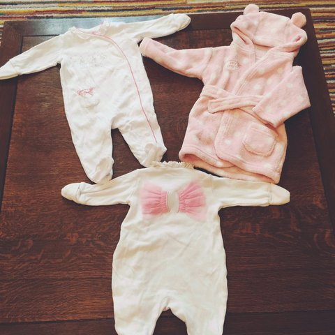 2x Baby Girl Sleepsuits And Dressing Gown 0 3 Months Depop