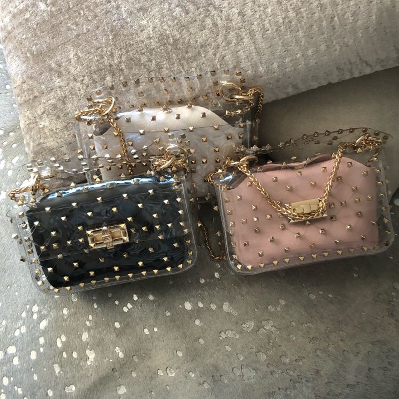 Mini rock stud bags I have 3 available in colours black nude - Depop 5f887bd66913e