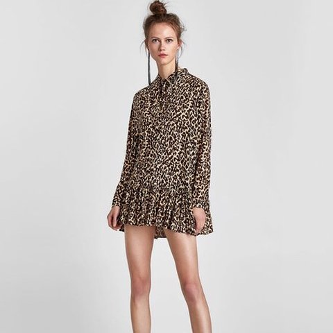 0242a89cc3a5 Zara Premium Collection Animal Print / Leopard Print Dress / - Depop