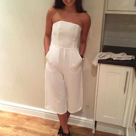 abf1948cc79 Missguided white bandeau culotte jumpsuit. Size 6. Only worn - Depop