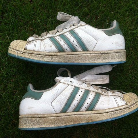 35a2cfde4ae3 90s retro vintage light teal blue Adidas superstars. Well - Depop