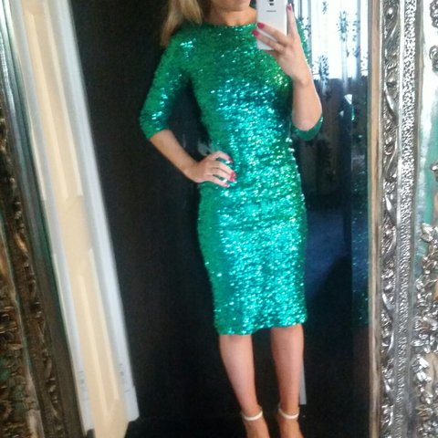 5eda040d765 ASOS Green Sequin Cowl Back Midi Dress  perfect for party or - Depop