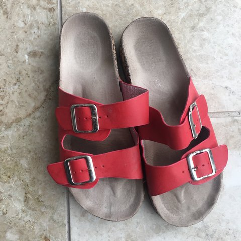 390db38488e2 New Look Birkenstock style sandals. Two   double red strap. - Depop