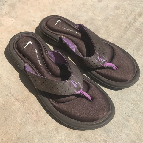 782fab84b47 Purple   brown Nike flip flops ✓ The comfiest cushion to 8 - Depop