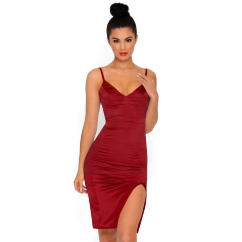 acada17825c Oh Polly red satin thigh split dress
