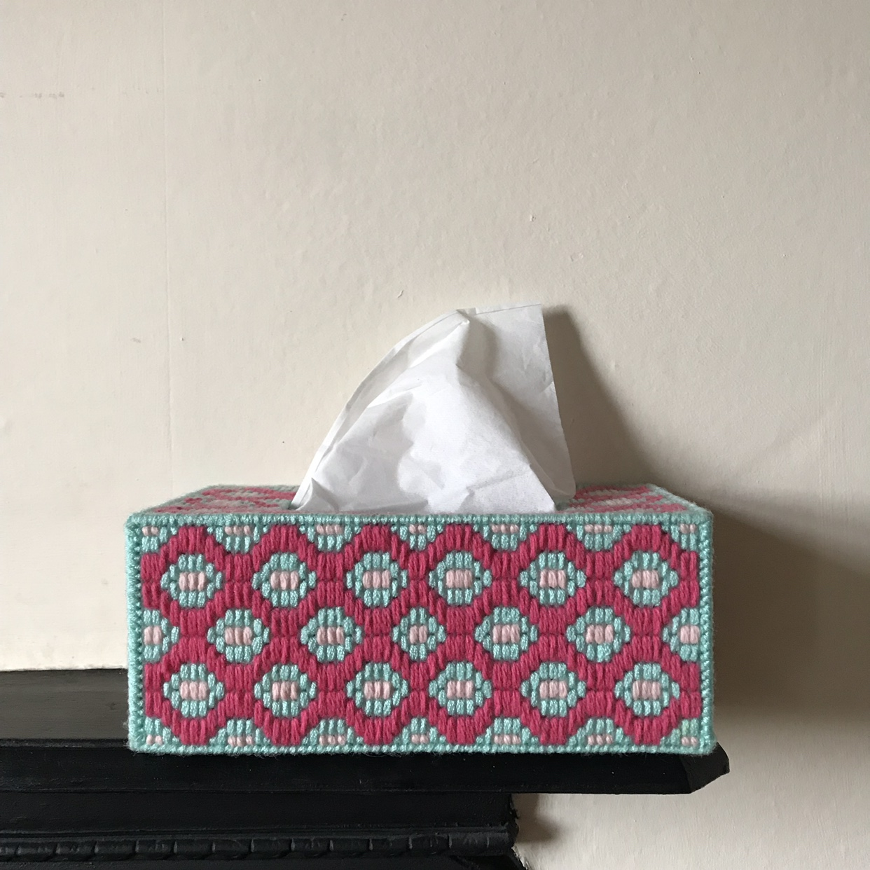 Groovy Hand Made Crochet Tissue Box Cover Pink Depop
