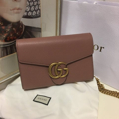 b106a8e92 The GG marmont top handle wallet has a removable chain and - Depop