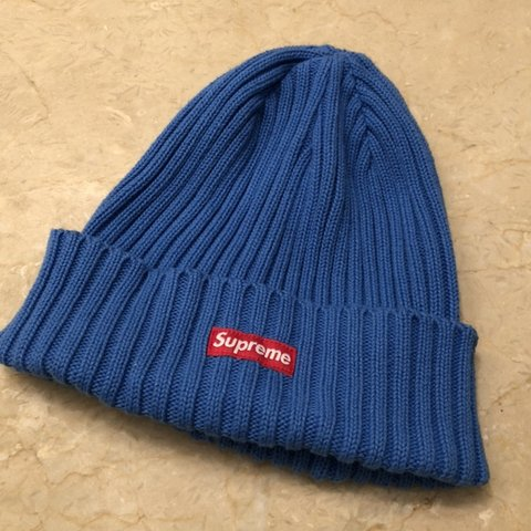 59697caa7f4 Supreme Overdyed Ribbed Beanie in Blue Worn a handful of bag - Depop