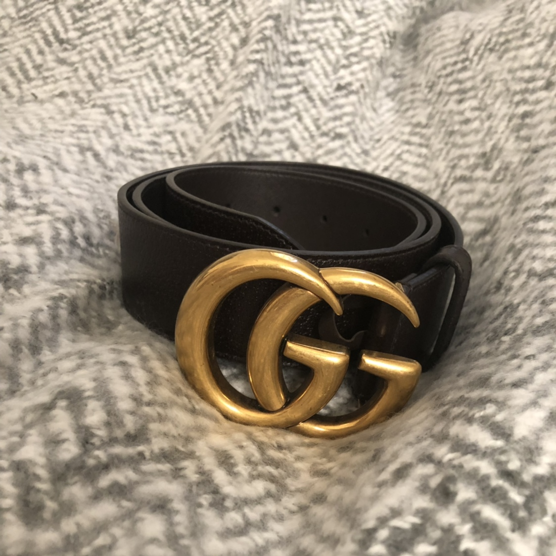 965170151 Double G buckle Gucci Belt with gold hardware in... - Depop