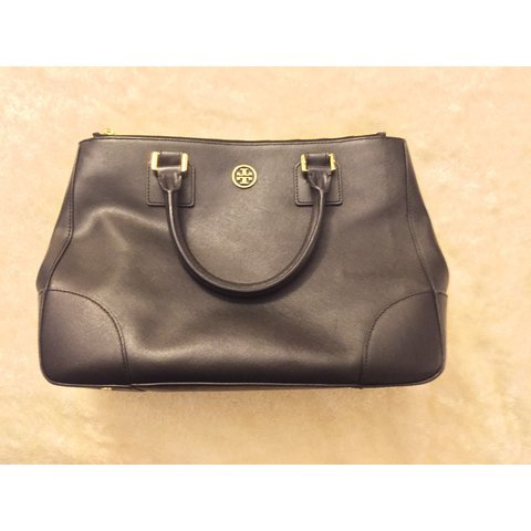 11f21156c944 Tory Burch Robinson Double Zip Black Saffiano Leather Tote a - Depop