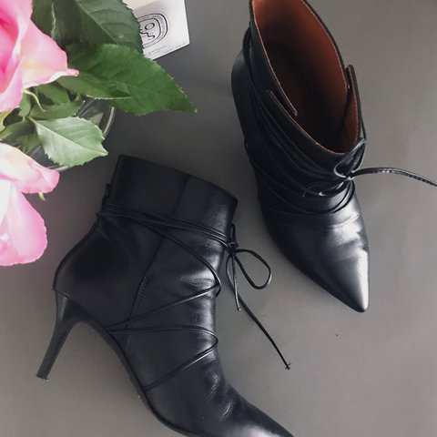 903ba216d & Other Stories black lace up leather ankle boots. Pointy 4, - Depop