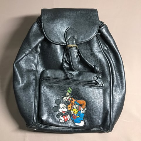 VINTAGE DISNEY MINI BACKPACK Black leather with embroidery - Depop