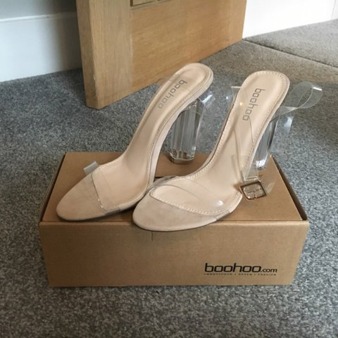 a9bfb1421d BooHoo clear Perspex heel two part nude barely there heeled - Depop