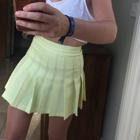 31bbaccceead @imogenpitts. 11 months ago. Shaftesbury, United Kingdom. American Apparel pleated  tennis skirt. Pastel yellow.