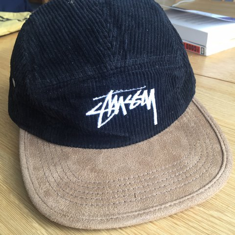 358947a7dd008 Stussy 5 panel strap cap. Black courdroy head with velvet a - Depop