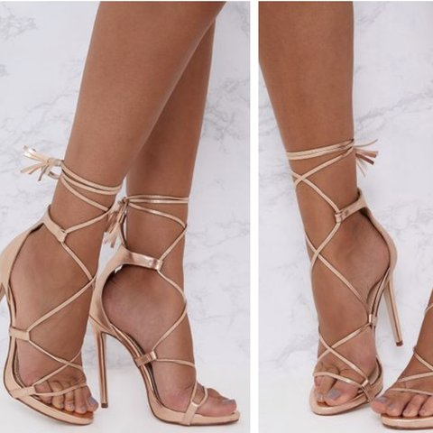 60d8701706b Rose Gold lace up heels Pretty Little Thing Never Worn Size - Depop