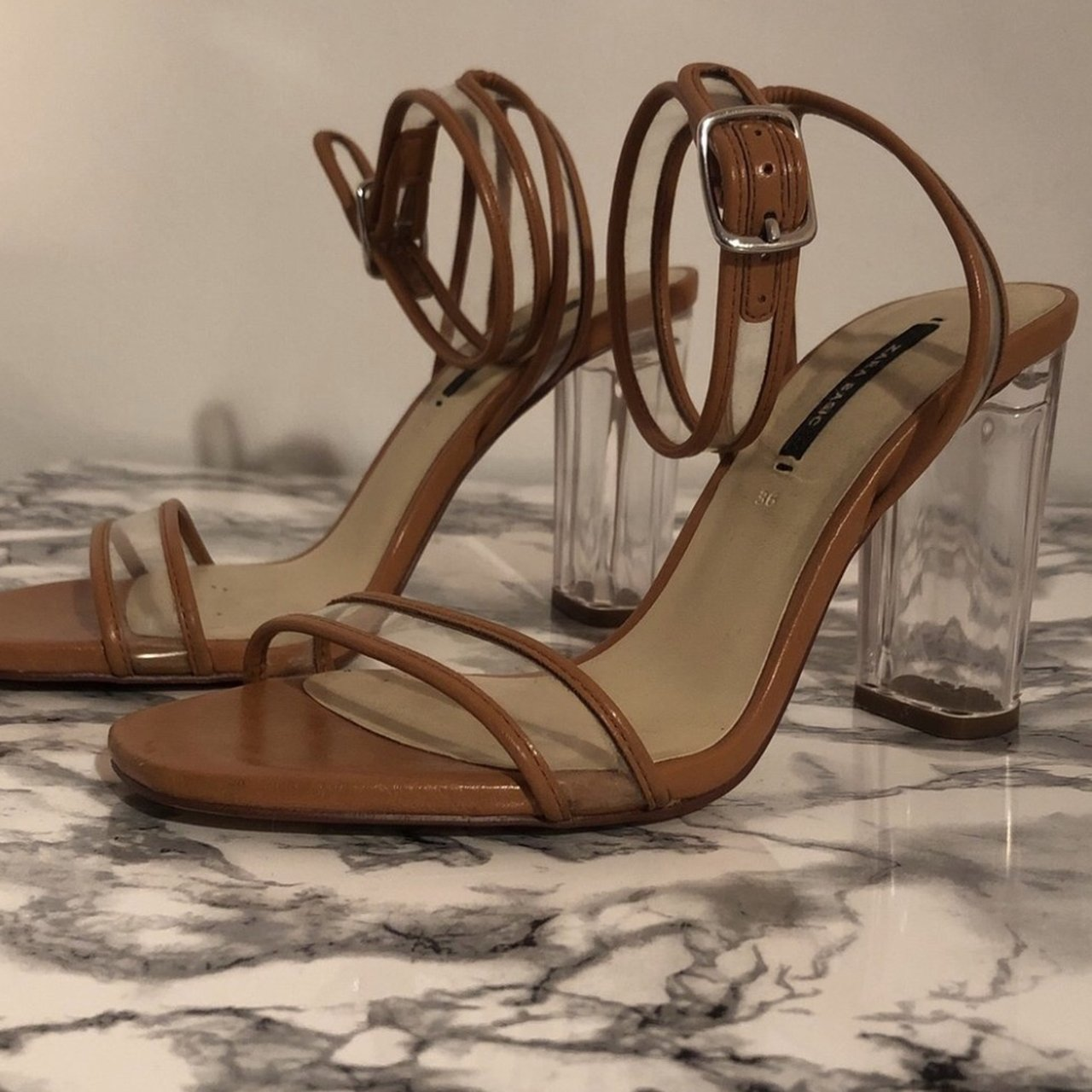 da6358b8f69 Zara tan   Perspex vinyl sandals with ankle strap and clear - Depop