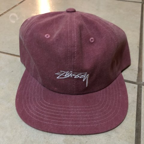 1a74aeee7a7 STUSSY STOCK LOGO WASHED OXFORD CANVAS SNAPBACK RED NEW WITH - Depop