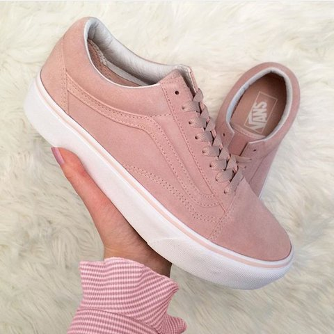 c0c01b65ec1 Vans old skool pink suede platform trainers brand new in box - Depop