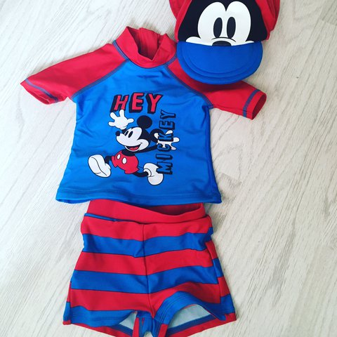 285c274f93 6-9 Months Mickey Mouse swim suit £4 worn once - Depop