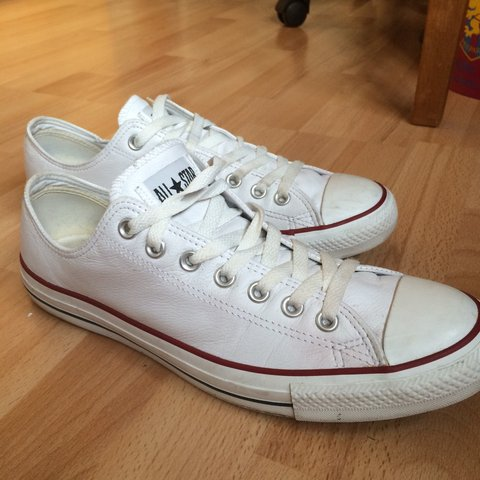 1b424494142 White leather converse allstar low