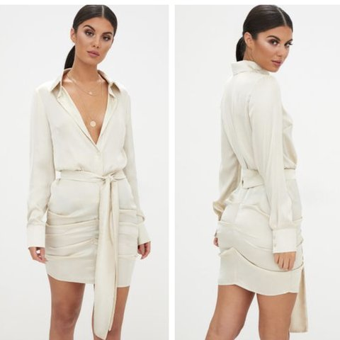 08fa54855 @jasmineqs. 4 months ago. London, United Kingdom. Champagne satin ruched  shirt dress. From pretty little thing. Never worn brand new with tags