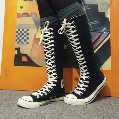 d289f2a3023d76 Barely worn knee high converse. Zips up in the back.  winter - Depop