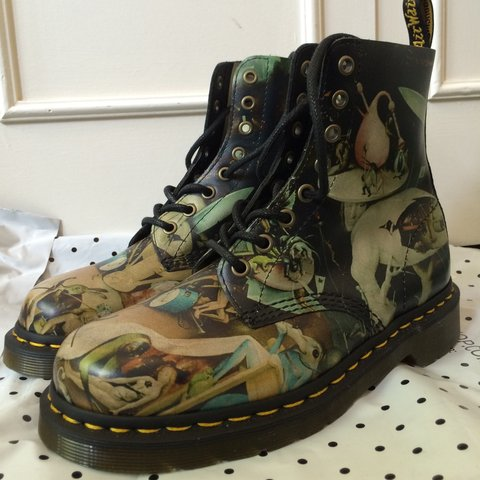 467dcece25 Unworn Doc Martens Hell Boots in UK 5. Pascal style boot art - Depop
