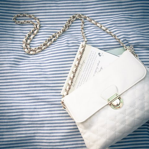 a41bf37ece2e4e @silviaung. 4 years ago. Alhambra, CA, USA. Forever 21 Quilted Chanel-Inspired  Purse! Color Off-White.