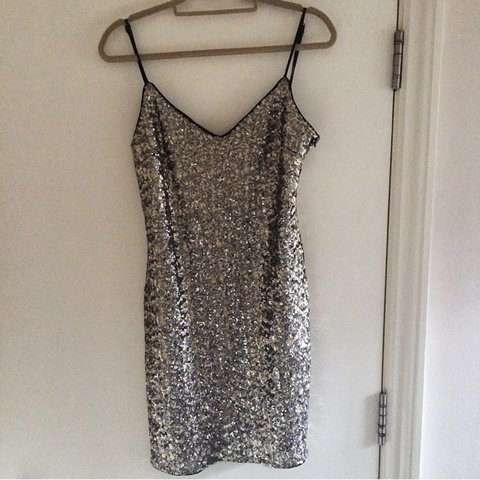 88684371c3a4 Zara trafaluc sequin sparkly gold and silver mini strappy M - Depop