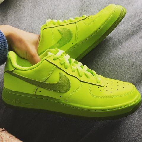 6ed523bed6f88 Nike Air Force 1 Neon Green Women s size 7 or Boys size 5. - Depop