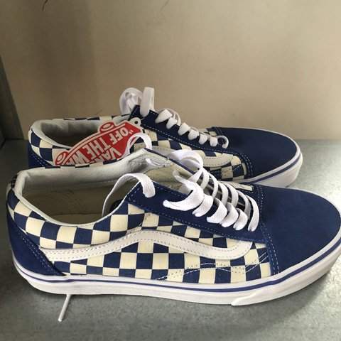 Vans Old Skool Checkerboard Blue Checker Primary Men 8.5 10 - Depop e2f804758