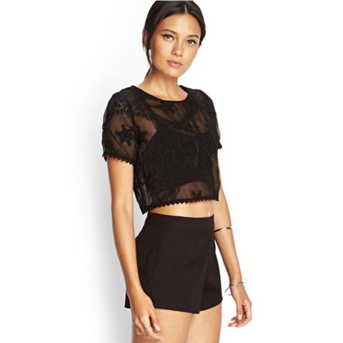 7c19640e1b61db NWT Forever 21 Black Sheer Embroidered Crop Top Super cute - Depop