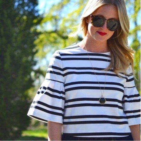 2147bc6edf40cb @marianaph. last year. United States. NWT Zara Black & White Stripe Bell  Sleeve Crop Top