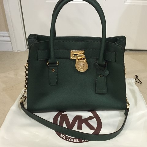 c7887bdbd NWOT Michael Kors Hamilton Medium Satchel in Hunter Green. - Depop