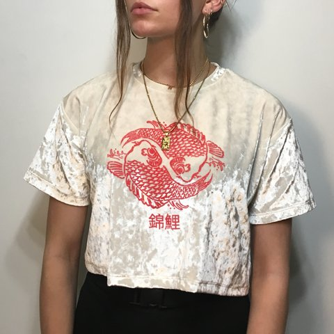 8c27511e @roseharris. 5 months ago. Penzance, United Kingdom. Crushed velvet coy  carp Chinese fish graphic cropped tee, from Urban Outfitters ...
