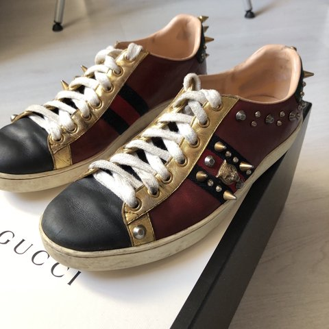 394baaee8a1 Gucci unisex Ace studded leather sneaker size 39. Worn