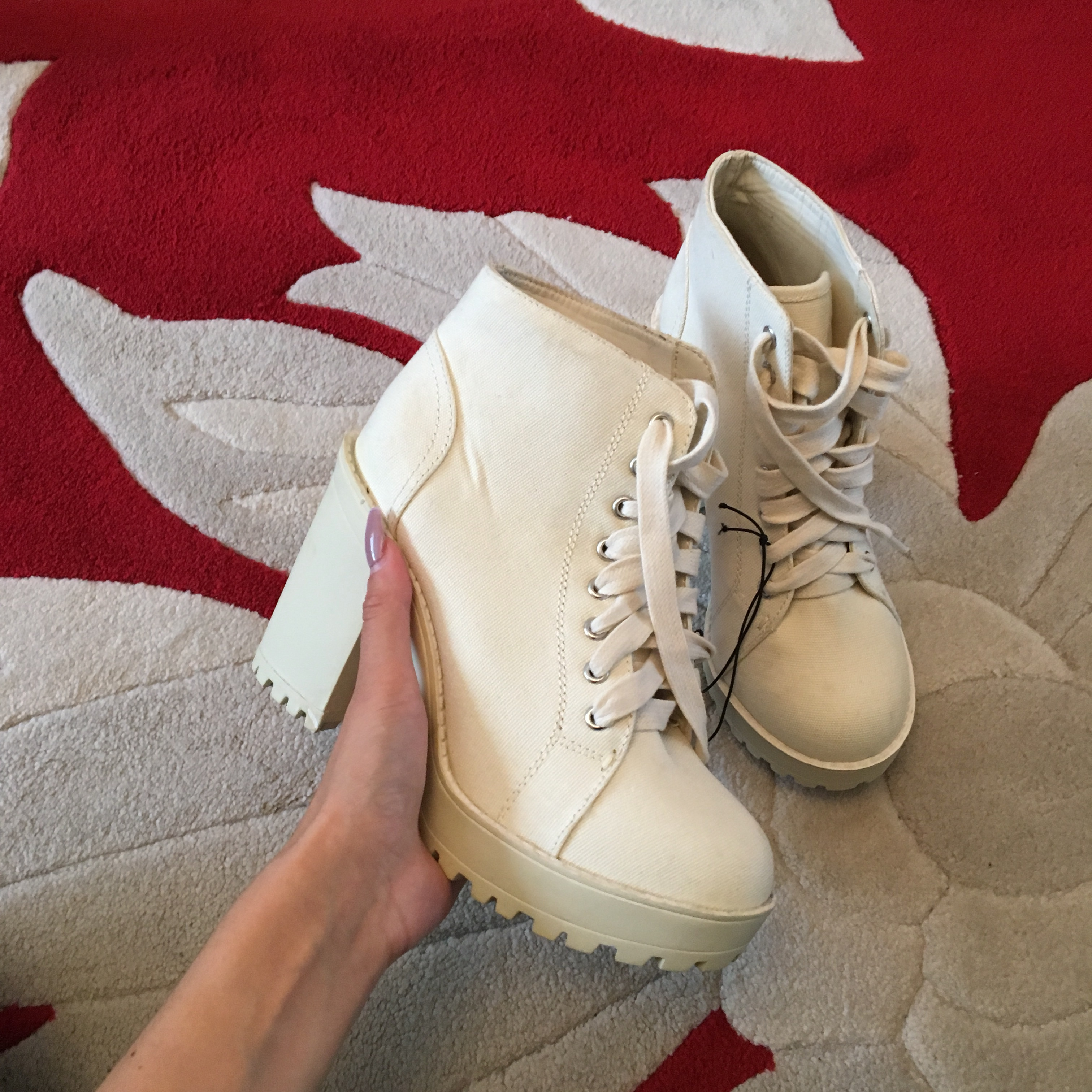Cream lace up thick chunky heeled ankle