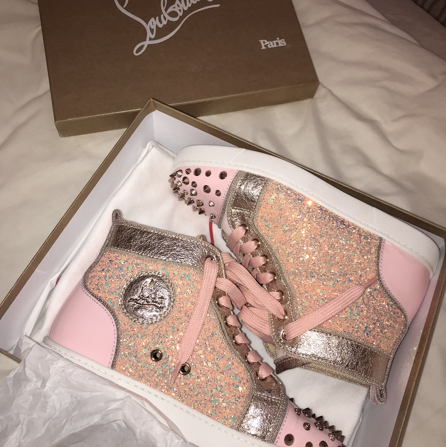 best website 722f2 f5568 Pink glitter Christian louboutin high top spikes ,... - Depop