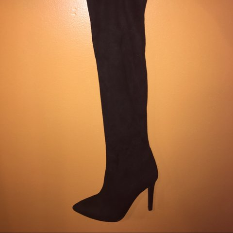 fbd09dfddf @simplychic. 3 years ago. United States. Public Desire Laurel boots. Black  suede over the knee heeled ...