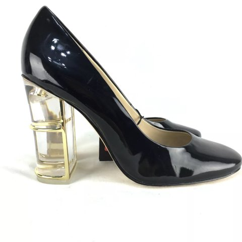 f63e1ababb8 Zara black Perspex clear heel court shoes - worn once size 4 - Depop