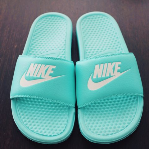 f84d401e29c7 Womens Mint green NIKE benassi sliders officially a size 6 a - Depop