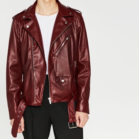 1252beb1b BNWT ZARA MAN FAUX LEATHER JACKET. In the color deep red is - Depop