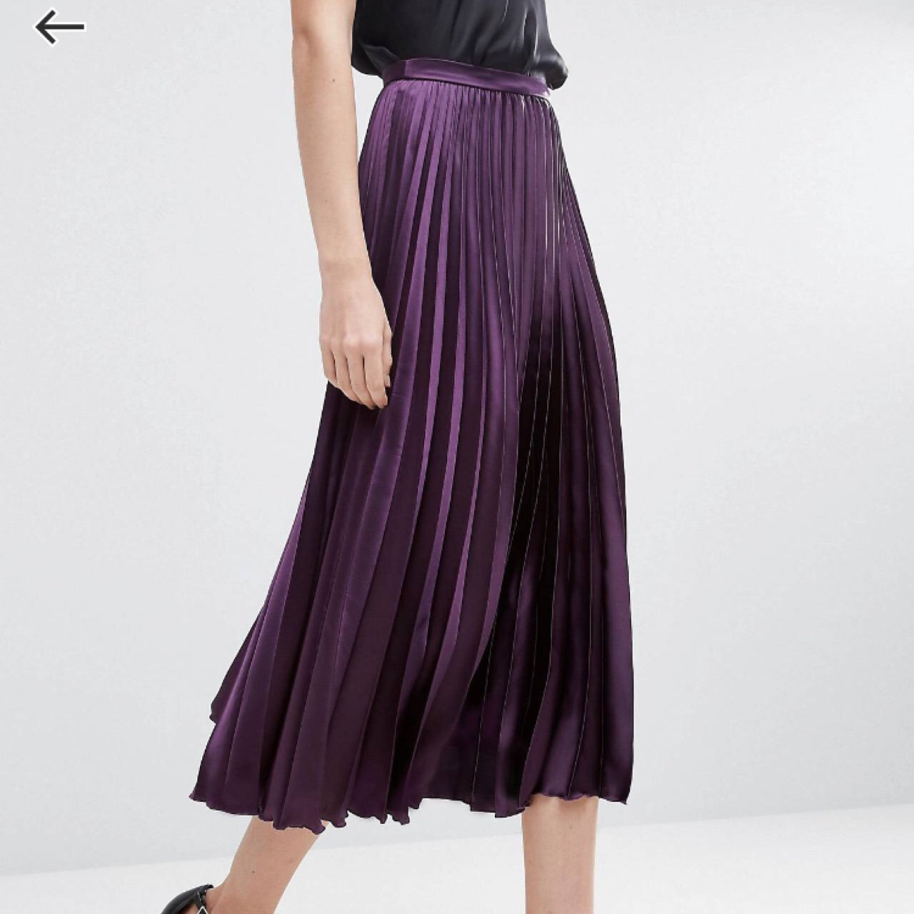 64e3c868a3493c @layee. last year. London, UK. ASOS TALL midi skirt in dark purple pleated  ...