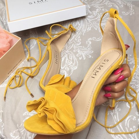a0938b070091 MESSAGE OFFERS yellow ruffle barely there heels in the style - Depop