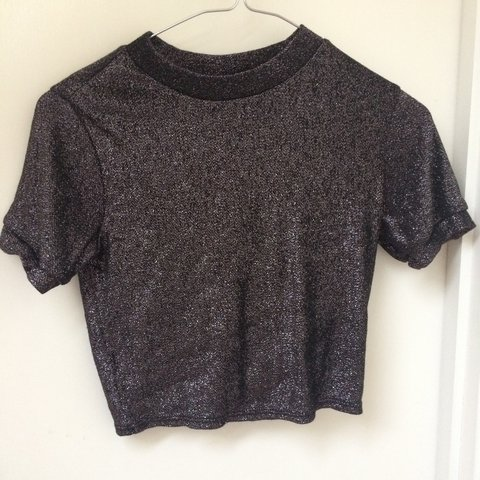 a51716d9 Topshop black/dark grey and silver glitter cropped t shirt 6 - Depop