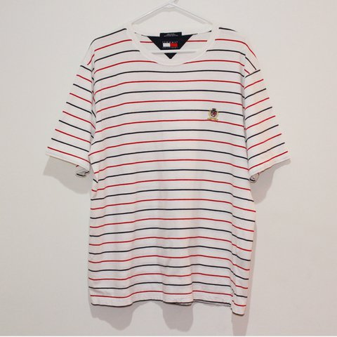 370a6dd61 Tommy Hilfiger striped tee ❤ 💙 red and navy stripes, with a - Depop