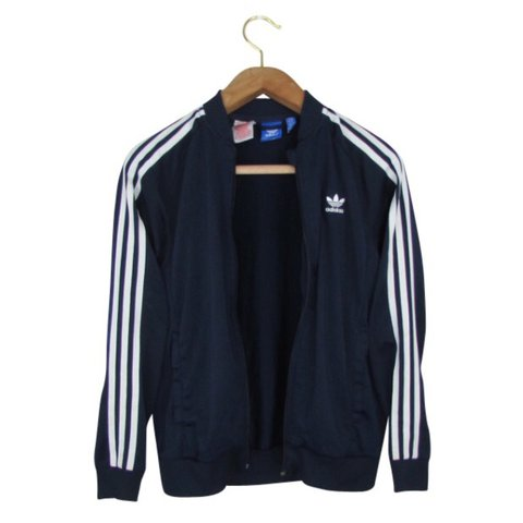 f1620a06a781 Adidas Sweatshirt In Navy Blue Retro Adidas Track Top from - Depop