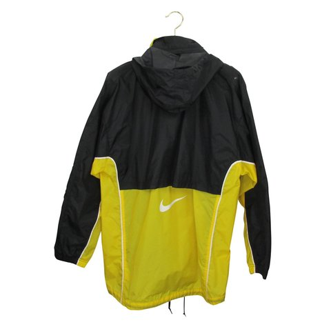 47652a092bc5 Vintage Nike Jacket in Black   Yellow Rare Nike Raincoat   - Depop